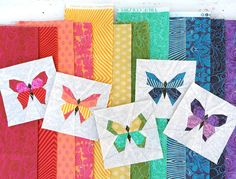 Butterfly Charm Blocks; paper piecing