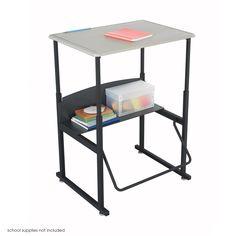 "Safco Products 1201BE Alphabetter Stand-Up Desk with Swinging Footrest Bar, 28"" x 20"" Standard Top, Black Frame/Beige Top"