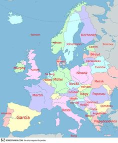 Map pf most common surnames in Europe.