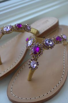 Purple and lavender jewel Mystique sandals, Kristina Richards, Newport RI Purple Love, All Things Purple, Shades Of Purple, Purple Beach, Purple Sandals, Purple Shoes, Mystique Sandals, Jeweled Sandals, Mocassins