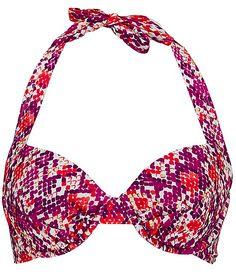 $31.96 Gossip Collection Cobra Retro Swimwear Top- great colors! #fashion #womensfashion #swimwear #swimsuits #summer #snakeskin