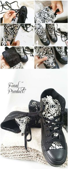 DIY Crafts You Can Make with Lace | Cool DIY Ideas for Fashion, Decor, Gifts, Jewelry and Home Accessories Made With Lace | Lace Converse Sneakers | http://diyjoy.com/diy-crafts-ideas-with-lace