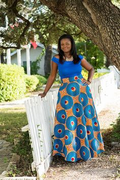 Orange and Blue Dashiki Maxi Skirt ; African Clothing Blue and Orange African Ankara Maxi High by MsAlabaAfricanShop African Maxi Dresses, Latest African Fashion Dresses, African Print Fashion, African Attire, African Wear, African Women, Moda Afro, Afrocentric Clothing, African Print Skirt