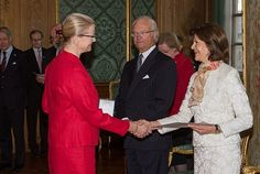 King Carl XVI Gustaf and Queen Silvia attended a medal presentation on at the Royal Palace February 4, 2016 in Stockholm, Sweden.