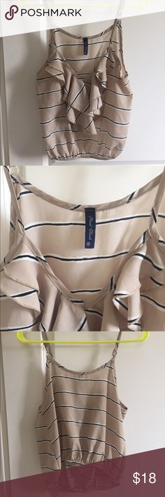 Beige/navi striped tank Ruffle detail on the front. Super cute with a high waisted skirt or shorts or can we worn as a crop top. Brand is Final Touch Final Touch Tops Crop Tops