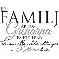 Väggord: En familj är som grenarna på ett träd