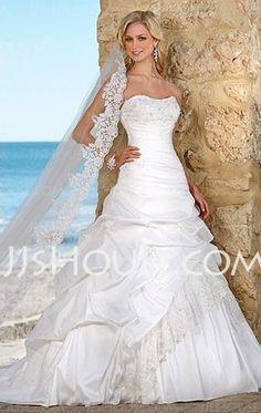 Wedding Dresses - $210.99 - Nice A-Line/Princess Sweetheart Chapel Train Taffeta Lace Wedding Dresses With Ruffle Beadwork (002004436) http://jjshouse.com/A-line-Princess-Sweetheart-Chapel-Train-Taffeta-Lace-Wedding-Dresses-With-Ruffle-Beadwork-002004436-g4436