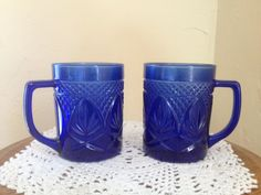 Beautiful pair of cobalt blue Pineapple cut glass coffee mugs on Etsy, $24.00