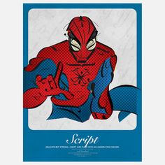 Peter Parker in Script - poster created with individual letters via Fab