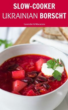 Slow Cooker Borscht Looking for healthy slow cooker soup recipes? Try this classic Borscht - Ukrainian red beet soup full of veggies and flavor. Best fall recipe for healthy weeknight meal or homemade lunch.