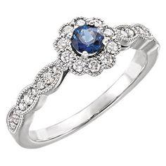 Celebrate September birthdays with this Sapphire & Diamond Halo-Style Ring.  Item #: 71793