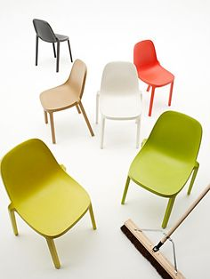 The Broom Chair, designed by Philippe Starck, is available in six colors: dark grey, green, natural, orange, white and yellow.