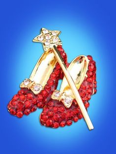 """WIZARD OF OZ DOROTHY WAND RUBY RED SHOES SHOE SLIPPER SLIPPERS PIN BROOCH 2"""" #Unbranded"""