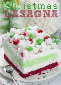 Christmas Lasagna is whimsical layered dessert that will be a hit at your Christmas gathering!Christmas | Lasagna via OMG Chocolate Desserts || Grinch Night! A Fun Family Christmas Tradition! || Letters from Santa Holiday Blog