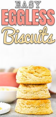 These Easy Eggless Biscuits are buttery, soft, and flaky! With just 5 ingredients and in less than 30 minutes, you can have fresh, warm biscuits on the table. Eggless Bread Recipe, Eggless Biscuits, Buttery Biscuits, Easy Bread Recipes, Eggless Recipes, Free Recipes, Vegan Recipes, No Bake Desserts, Easy Desserts