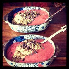 Raw Porridge! Lingonberry, Strawberry, Cacao, Brazilnuts, Pecans ♥