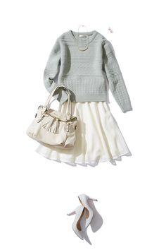 ミントグリーン×ホワイトメッシュスカートの、春色コーデ。 http://bistroflowers.com/products/detail_1789_184_0.html