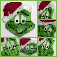 Plastic canvas Mr Grinch holiday magnet by HomespunCrafting, $5.00 #Grinch #plasticcanvas #homespuncrafting  - I think I can get pattern of this