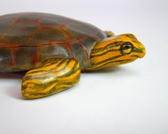 cute painted turtle wood carving