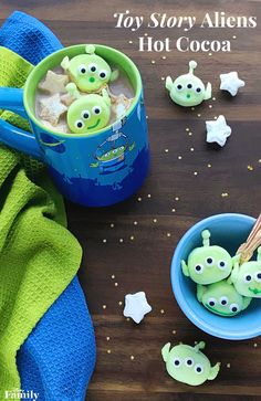 These little green men are made by dip-dyeing your favorite marshmallows almost like you would an Easter egg (minus the stinky vinegar). Then you simply cut out the pieces, attach, and decorate for a treat that is out of this world adorable! Click for this Toy Story Aliens Hot Cocoa recipe.