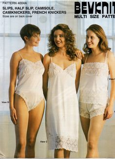 80s Stretch Knit Full & Half Slips French Knickers Camisole Teddy Lingerie Pattern Bevknits 4004A Vintage Sewing Pattern Size 8 10 12 14 16 18 20 22 UNCUT Factory Folds