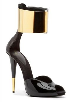 85e87bb1a87 High Heels Giuseppe Zanotti 2014 Black Gold Ankle Strap Sandals Shoes  Zapatos Shoes