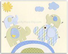 Baby boy Nursery wall art Decor Children ArtTwin by DesignByMaya, $17.00