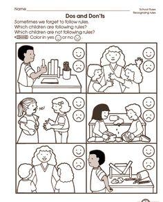school rules worksheet (2)   Crafts and Worksheets for Preschool,Toddler and Kindergarten