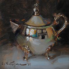 Silver Creamer by Elena Katsyura Oil ~ 6 x 6