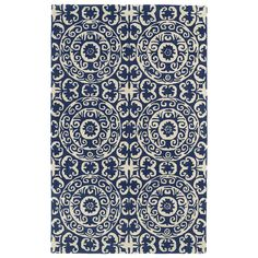 Hand-tufted Runway Navy/ Ivory Suzani Wool Rug (8'x11') | Overstock.com Shopping - Great Deals on 7x9 - 10x14 Rugs