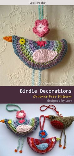 This Birdie Decorations Crochet Free Pattern is as simple and easy pattern which is a great decoration for your home. Make one know with the free pattern provided by the link below. Crochet Bird Patterns, Crochet Birds, Crochet Motifs, Purse Patterns, Cute Crochet, Knit Crochet, Crochet Squares, Filet Crochet, Dress Patterns
