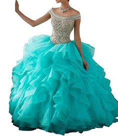 4feb81fda8 Shang Womens Beaded Ball Gown Sweet 16 Quinceanera Dress Turquoise US