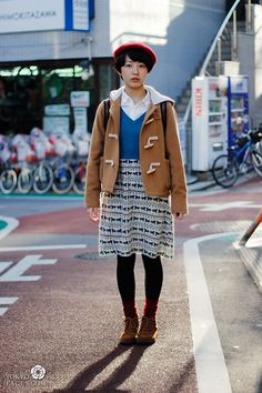 Camel toggle jacket, printed skirt-Ichibangai-Shimokita