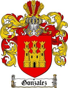 GONZALEZ FAMILY CREST - COAT OF ARMS gifts available at www.4crests.com