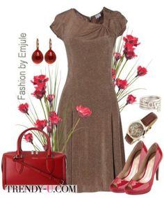 Коричневое платье - красные аксессуары