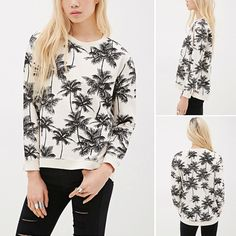 You will taste the comfortable,chic and fashion flavor in this sweatshirt. Crafted from breathable and skin-friendly fabric and loose design,very comfortable to wear. With Coconut Trees pattern,chic and unique. No matter pair with skirts or jeans,it looks perfect.