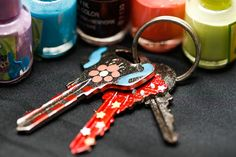 How to Color Code Your Keys Using Nail Polish. Do you own more keys than a high school janitor? Does this cause you to bumble for the right key every time you need to get into your home or office, while you grow increasingly frustrated. Remove Gum From Clothes, Carpenter Bee Trap, Making Essential Oils, Dremel Tool, Finger Knitting, To Color, Glass Bottles, Wind Chimes, Just In Case