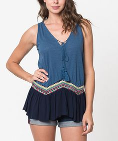 Look what I found on #zulily! Navy Geometric Embroidered V-Neck Tank by Caralase #zulilyfinds