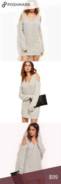 Distressed Cold Shoulder V Neck Sweater Dress Chic off shoulder style, trendy destroyed details, flattering v neck, long sleeve sweater dress. This cozy, chunky knit sweater is so cuddly and soft you'll want to wear it. Perfect as a stand alone piece or pair it with leggings. A sweater weather must have.  ❌ Sorry, no trades.   568989  loose fit waffle cable knit sweater  fairlygirly fairlygirly Sweaters V-Necks