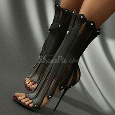 Black toe less high-heeled shoes
