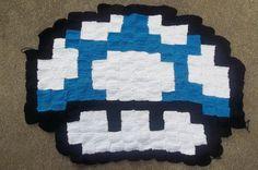 Blue Mario Mushroom Rug/Wall Hanging by harmonden on Etsy, $45.00