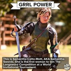 New Zealand sword fighter Samantha Swords (stage name) 2013 winner of the long sword event in the Harcourt Park World Invitational Jousting Tournament. Samantha also designs her own swords. Female Armor, Female Knight, Lady Knight, Fantasy Armor, Medieval Fantasy, Character Design Inspiration, Writing Inspiration, Fitness Inspiration, Sword Photography