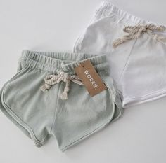 mini ribbed cotton branded tag thick pull through drawstring true to size Boho Shorts, Casual Shorts, Capsule Wardrobe Essentials, Pull Through, Baby Wearing, Baby Love, Mists, White Shorts, Cotton