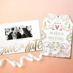 Pink and Gold Save the Date Designs from Minted