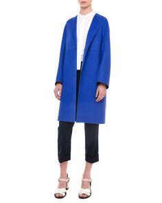 Jil Sander Double-Face Cashmere Coat, Cobalt