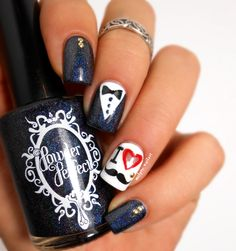 nail art moustache Powder Perfect