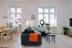 Contemporary Apartment Design in Small Loft Area and Bright Interior - Living Room