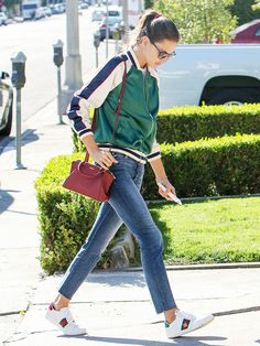 7451ea4636c Alessandra Ambrosio Just Wore the Perfect Weekend Shoes · Gucci Sneakers  OutfitSneaker Outfits WomenModel Street StyleAlessandra ...