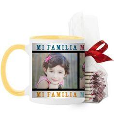 Mi Familia Mi Vida Mi Felicidad Mug, Yellow, with Ghirardelli Peppermint Bark, 11 oz, White