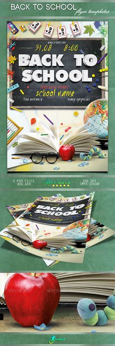 Back To School Flyer Template PSD | Buy and Download: http://graphicriver.net/item/back-to-school-flyer/8597077?WT.ac=category_thumb&WT.z_author=sanetanita&ref=ksioks